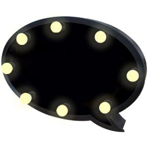 Pizarrón en forma de burbuja de dialogo con luz led de baterías AA