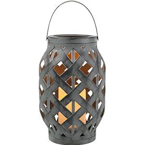 Linterna tejida gris con vela y luz led de baterías AAA