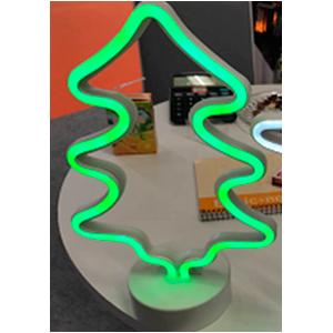 Decoracion de silueta de Pino con luz neon verde de baterias AA