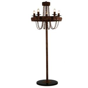 Lámpara de pie rustica terminado antiguo con cadenas para 5 focos de 55x170cm
