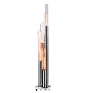 Lámpara de piso diseño tubos de metal con pantallas de cristal de 30x30x175cm