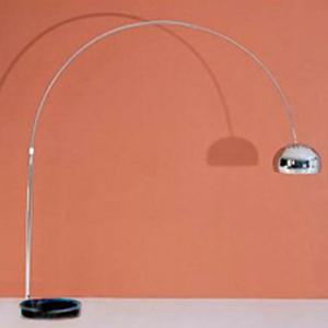 Lámpara de pie de arco diseño cacerola c/base de mármol negro