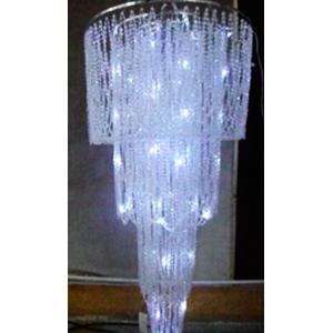 Pantalla con cuentas de acrilico transparente en diagonal  de 4 niveles con luz led de 61x122cm