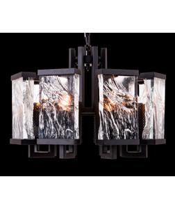 Lámpara de techo de 6 focos con pantallas de cristales de 44x61cm