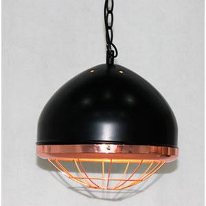 Lámpara de techo diseño media esfera negra con pantalla diseño red en color cobre de 27x27x28cm
