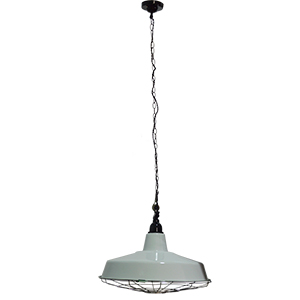 Lámpara de techo blanca diseño cacerola con reja de 115cmx40dm