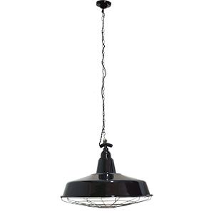 Lámpara de techo  negra diseño cacerola con reja de 115cmx40dm