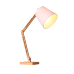 Lámpara de escritorio con altura ajustable blanca y base de madera de 37x22x74cm