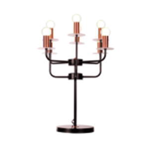 Lampara de mesa negro de metal para 8 focos de 47x20x59cm