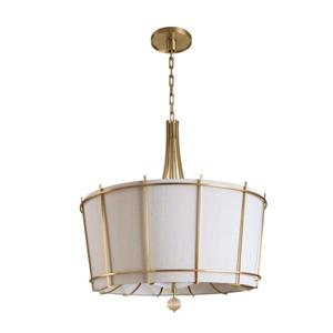 Lámpara de acero p/4 focos con pantalla beige de 74.5x90cm