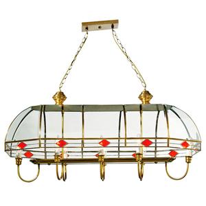 Lámpara rectangular para 8 focos con armazón de metal dorado y cristal transparente de 80x50cm