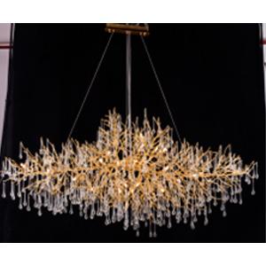 Lámpara de techo diseño swag color dorado con gotas de vidrio de 250x90x85cm