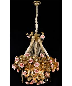 Lámpara de techo dorada diseño rosas y hojas de 70x90cm