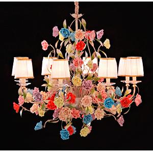 Candil de techo para 8 luces diseño clasico con rosas y guias de colores 92x95cm