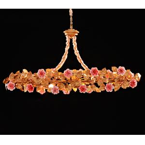 Lampara de techo redonda diseño guia con hojas doradas y rosas blancas de 120x48x53cm