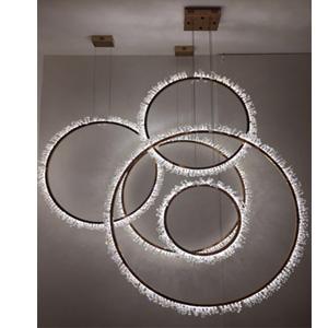 Lámpara de techo diseño círculos verticales de luz led de 110cm