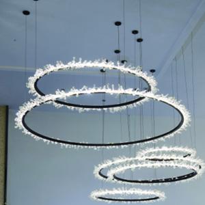 Lámpara de techo diseño círculos horizontales de luz led de 110cm