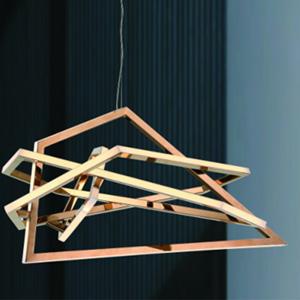 Lámpara de techo moderna dorada de acero de 64x50x150cm