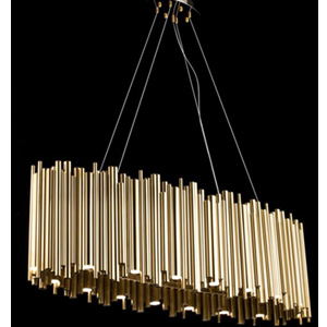 Lámpara ovalada moderna diseño tubos dorados con luz led de 130x50x15cm