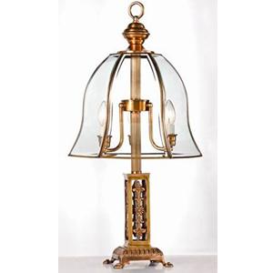 Lámpara de mesa de metal dorada con pantalla transparente de 3 focos de 38x80cm