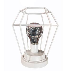 Linterna de metal blanca con luz led de 15x15x17cm