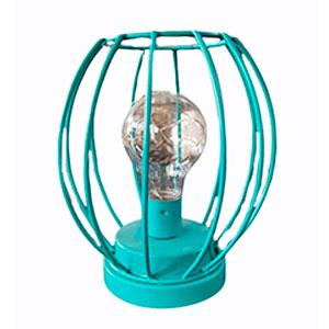 Linterna de metal azul turquesa  con luz led de 15x15x17cm