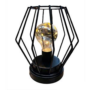 Linterna de metal negra con luz led de 15x15x17cm