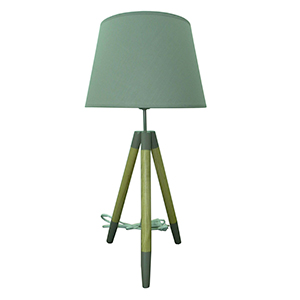 Lámpara diseño tripie con pantalla gris de 35x35x70cm