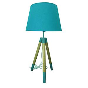 Lámpara diseño tripie con pantalla azul de 35x35x70cm
