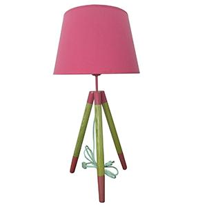Lámpara diseño tripie con pantalla rosa de 35x35x70cm