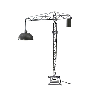 Lámpara diseño grúa de construcción con pantalla gris de 91x26x134cm