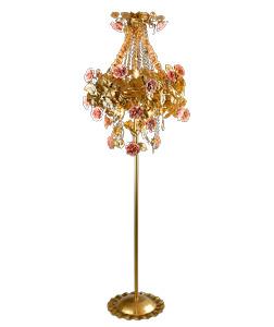 Lámpara de pie dorada diseño rosas y hojas 65x170cm