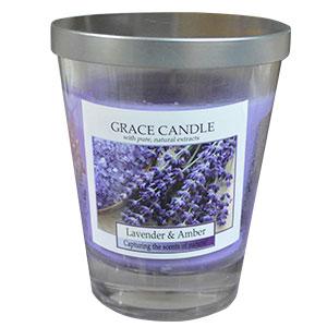 Vela de 310g en vaso de cristal c/tapa aroma Lavanda de 11x12cm