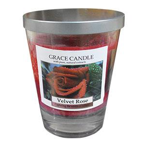 Vela roja en vaso de cristal con tapa aroma a Rosas de 11x12cm