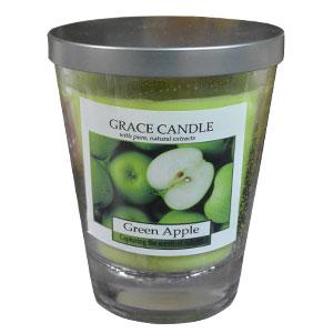 Vela de 310g en vaso en de cristal c/tapa aroma a Manzana Verde de 11x12cm