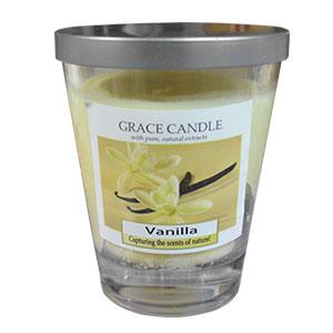 Vela de 310g en vaso de cristal c/tapa aroma a Vainilla de 11x12cm