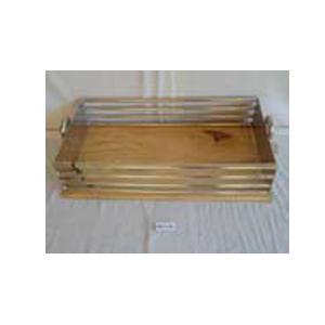 Charola de metal con asa y base de madera de 49x26x14cm