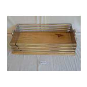 Charola de metal con asa y base de madera de 74x39x17cm