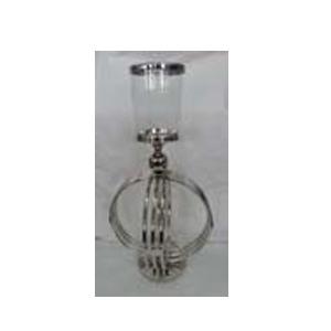 Candelabro de metal plateado con base de vidrio de 32x76cm