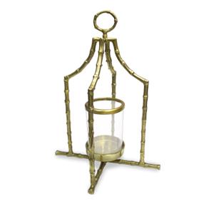Candelabro de metal diseño bambú dorado con pantalla de cristal de 32x32x49cm