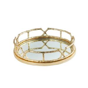 Charola y/o Candelabro de metal diseño bambú dorada con espejo de 43cm