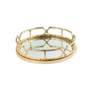 Charola y/o Candelabro de metal diseño bambú dorada con espejo de 53cm