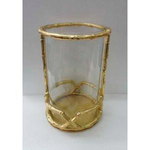 Candelabro de metal diseño bambú dorado con pantalla de cristal de 18x27cm
