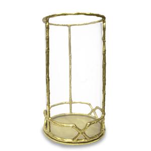 Candelabro de metal diseño bambú dorado con pantalla de cristal de 24x41cm