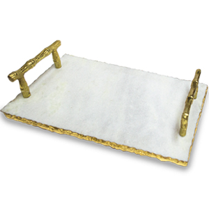 Charola de cristal con asas de diseño bambú dorado de 50x25cm