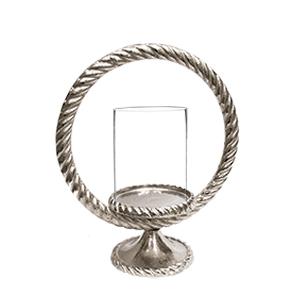 Candelabro de metal diseño trenzado circular con pantalla de cristal de 24cm