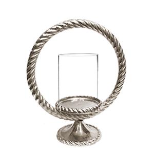 Candelabro de metal diseño trenzado circular con pantalla de cristal de 29cm