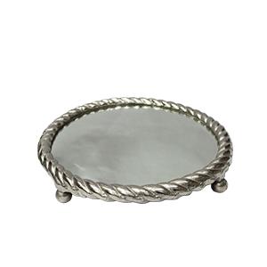 Charola de metal plateada diseño trenzado con espejo de 30 cm