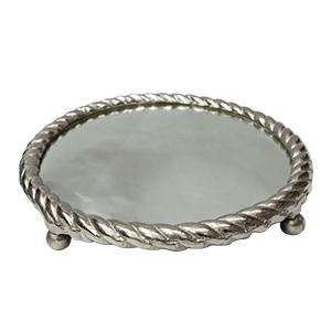 Charola de metal plateada diseño trenzado con espejo de 43cm