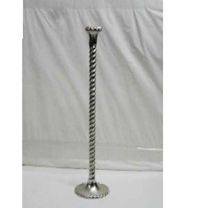 Candelabro para 1 vela plateado de metal diseño trenzado de 70cm